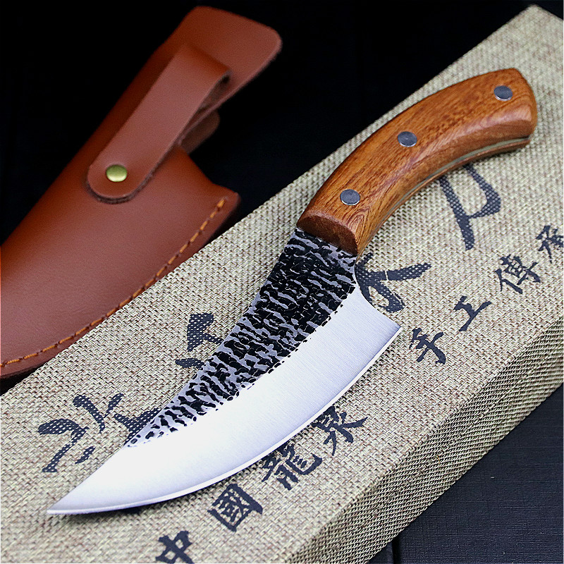 24.5cm hand forged by chef Tang, sliced kitchen knife, high carbon steel outdoor knife, butcher's knife + Leather Case 1