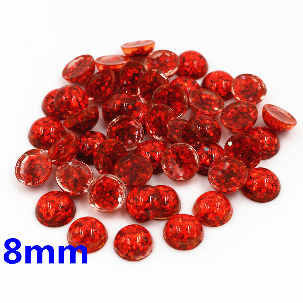 New Fashion 40pcs 8mm Red Color Flat Back Resin Cabochons Cameo  O7-10