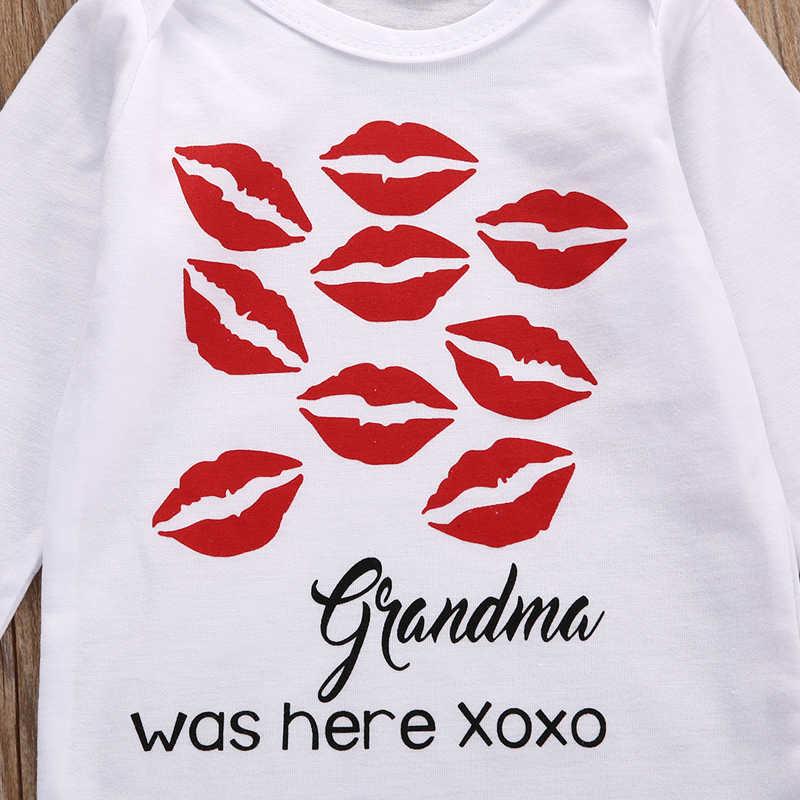 Oma war hier Print langarm Baby Ein Stück Body