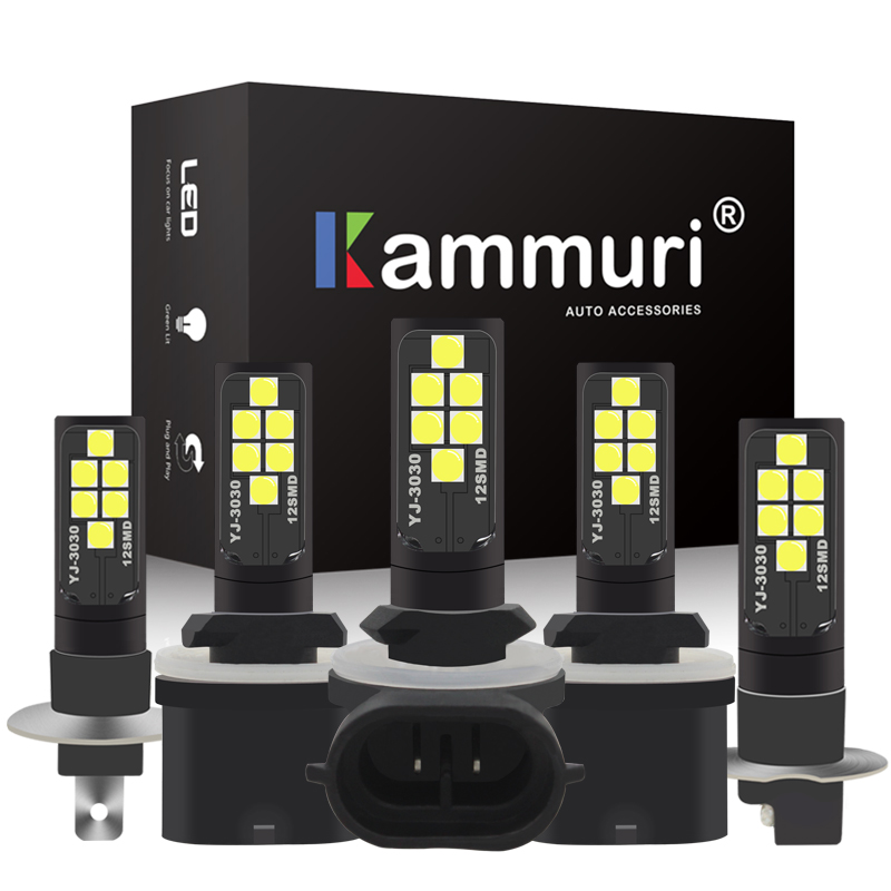 KAMMURI White H1 H3 H27W H27 LED Bulb H27w2 H27w/2 881 880 H27w/1 H27w1 Car LED Bulbs For Car Driving Fog Lamp Light Source