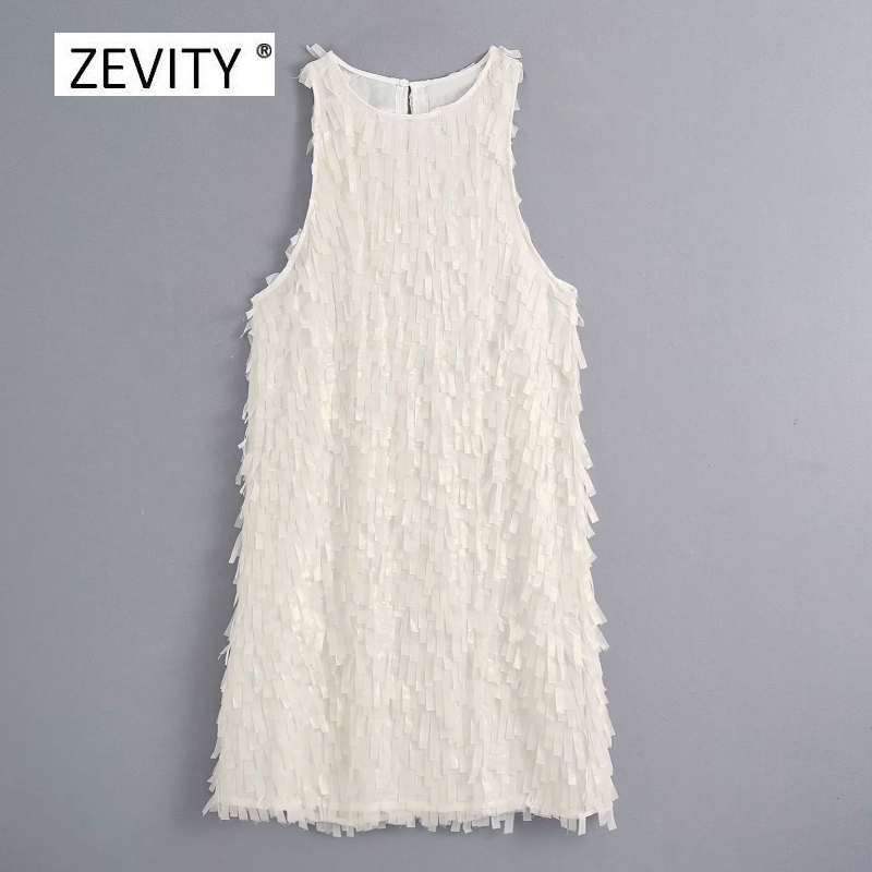 New Women o neck sleeveless solid tassel decoration mini Dress Ladies summer casual straight Vestido Chic Party Dresses DS4099