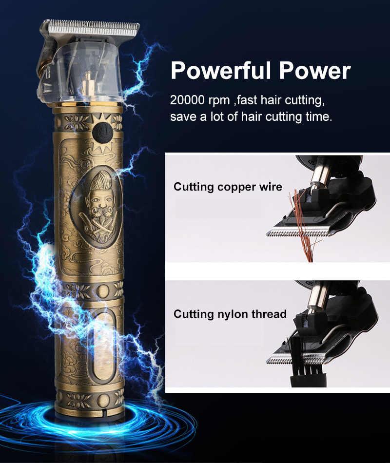Recortadora de barba de corte cerrado, cortadora de pelo eléctrica para peluquería, cortadora profesional de pelo para hombres, cortadora de pelo de 0mm, máquina de cuchillas t