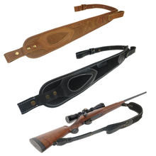 Acessórios da arma de caça couro rifle arma estilingue preto/marrom ombro ajustável acolchoado shotgun tiro tático cinta