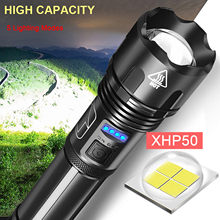 Puissante Lampe De Poche Led Xhp50 Torche Usb Torche Tactique Rechargeable Étanche Lampe Ultra Lumineuse Camping Lampe de Poche En Gros