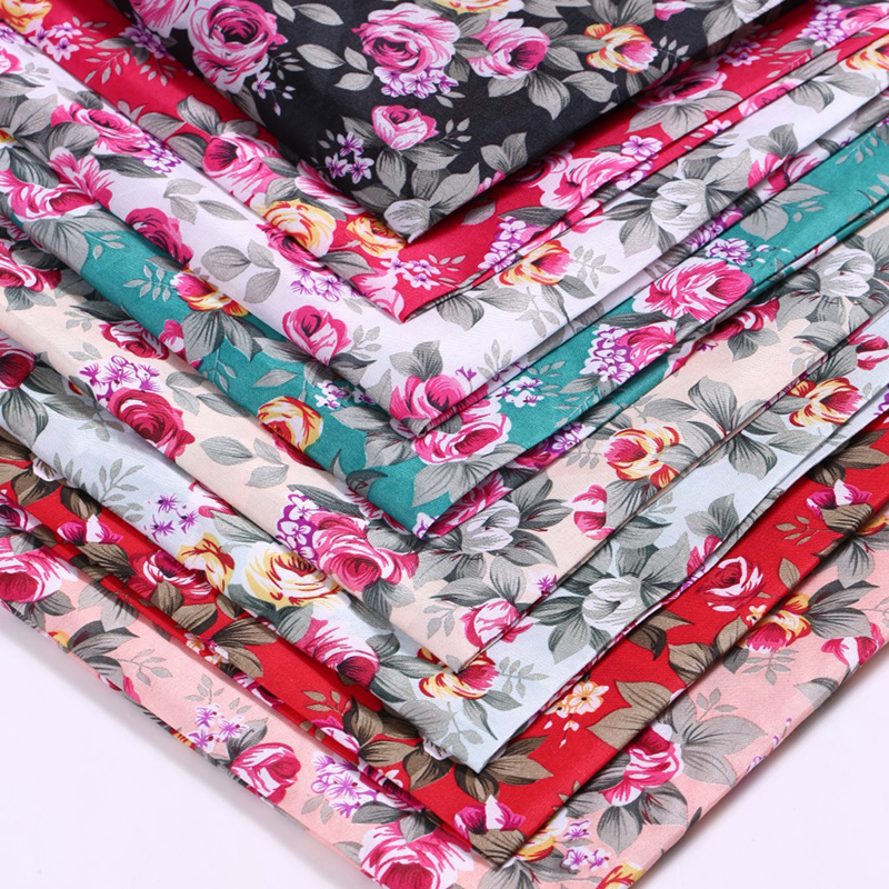 50cmX140cm 11 Colors Available Flower Printed Fabric Polyester Sewing Fabrics for DIY Sewing Quilting Material Patchwork Cloth