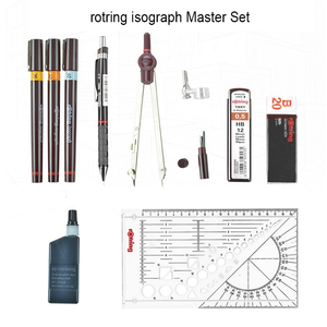 Image 2 - Rotring Master /Junior Isograph refilled ink porous point pen drawing tools set