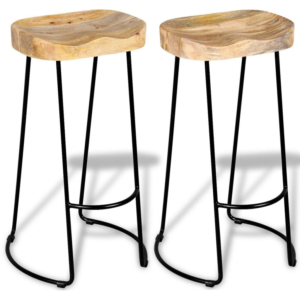 VidaXL Bar Stools 2 Pcs Solid Mango Wood