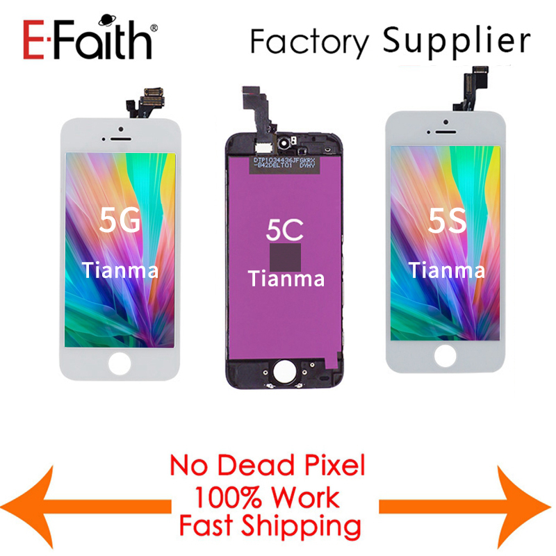 EFaith Tianma 10PCS LOT LCD Display For iPhone 5 5G 5C 5S Digitizer Replacement With Touch