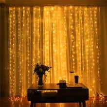 A energia solar ao ar livre decoraes de natal para casa 3m 100/200/300 cortina de led luz
