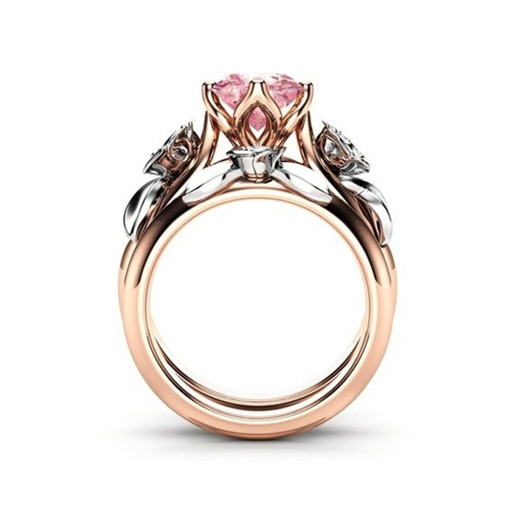 Linmouge New Cople Ring Pink Flower With Zirconia Trendy Wedding Elegant Rose Gold Color Jewelry Female Jewelry Accessories RF26
