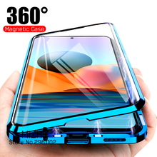 עבור Xiaomi Redmi הערה 10 פרו מקרה 360 מגנטי Flip טלפון כיסוי Redmy Note10 4G 10Pro 10s כפול צדדי זכוכית הגנה Coque