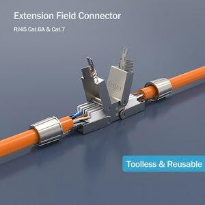Image 2 - Linkwylan Cat6A Cat7 Kabel Extender Junction Adapter Verbindung Box RJ45 Lan Kabel Verlängerung Stecker Volle Geschirmt Toolless