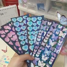 Borboleta coração em forma de adesivos a laser scrapbooking mão conta doodling kawaii colagem material papelaria coreano adesivo presente