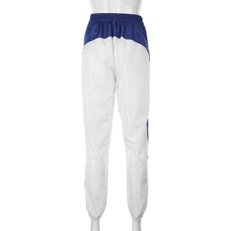 Weekeep/женские брюки с высокой талией и поясом, уличная одежда, лоскутные брюки 2019, белые модные брюки-карандаш