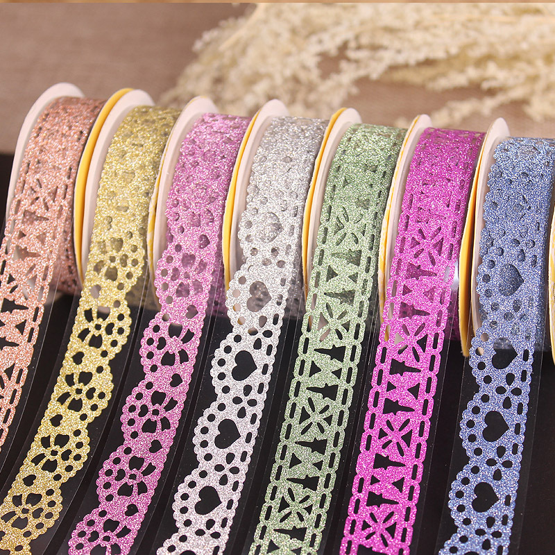 1PCS 1m Kawaii Glitter Matte Lace Tape Book Decoration Washi Tape Scrapbooking Card Adhesive Paper Sticker DIY Craft Gift