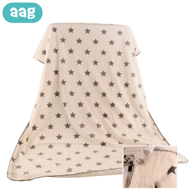 AAG Baby Blankets Thicken Double Layer Lamb cashmere Newborn Blanket Swaddle Envelope Stroller Wrap Printed Baby Bedding Blanket