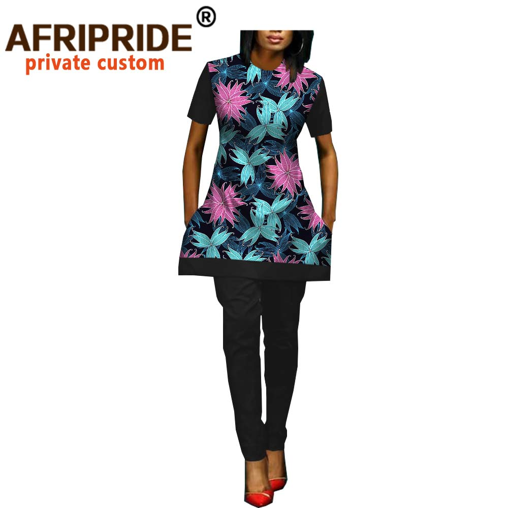 Spring&autumn African 2 Pieces Pants Set AFRIPRIDE Short Sleeve O-neck Top+ankle Length Pants Casua Women Set A1826018