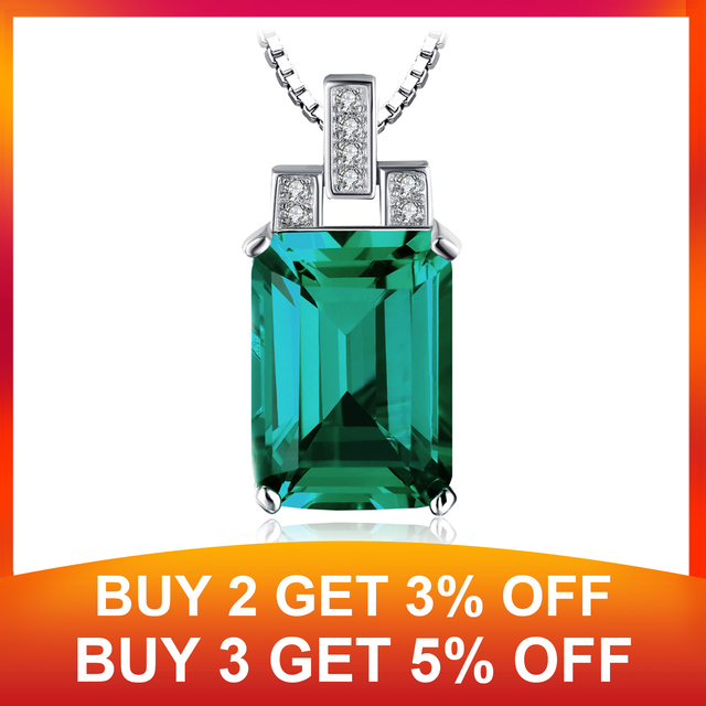 Jpalace 6ct Simulated Nano Emerald Pendant Necklace 925 Sterling Silver Gemstones Choker Statement Necklace Women Without Chain 1