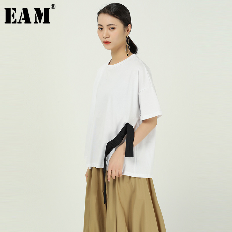 [EAM] Women Black Ribbon Split Joint Big Size T-shirt New Round Neck Half Sleeve  Fashion Tide  Spring Autumn 2020 1R847