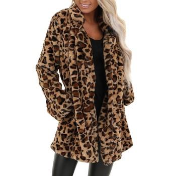 Zimowy płaszcz damski Leopard Faux futro gruba ciepła moda sztuczne futro damskie płaszcze swobodne futro kurtka # Zer tanie i dobre opinie WHooHoo Długi Kieszenie Jacket Coat STANDARD Poliester Kaszmiru Otwórz stitch Skręcić w dół kołnierz Pełna REGULAR