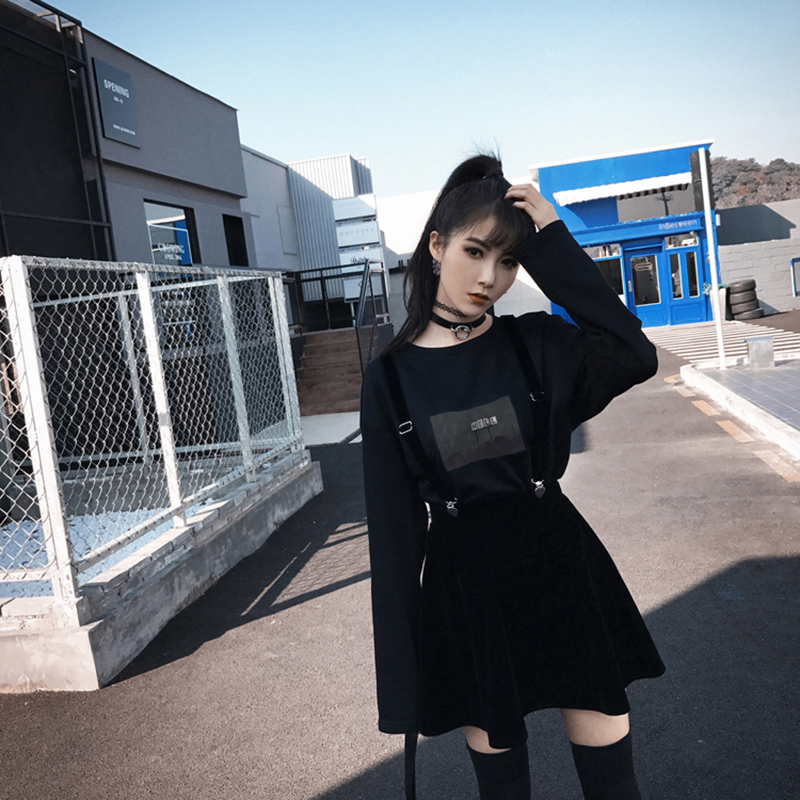 Clip Velvet Strap Skirts Women Gothic Harajuku Spring Summer Mini Skirts Korean Short Skirts Sexy A-Line School Skirt Black 2019