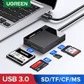 Ugreen USB 3,0 кардридер SD Micro SD TF CF MS Compact Flash Card адаптер для ноутбука мульти кардридер 4 в 1 кардридер
