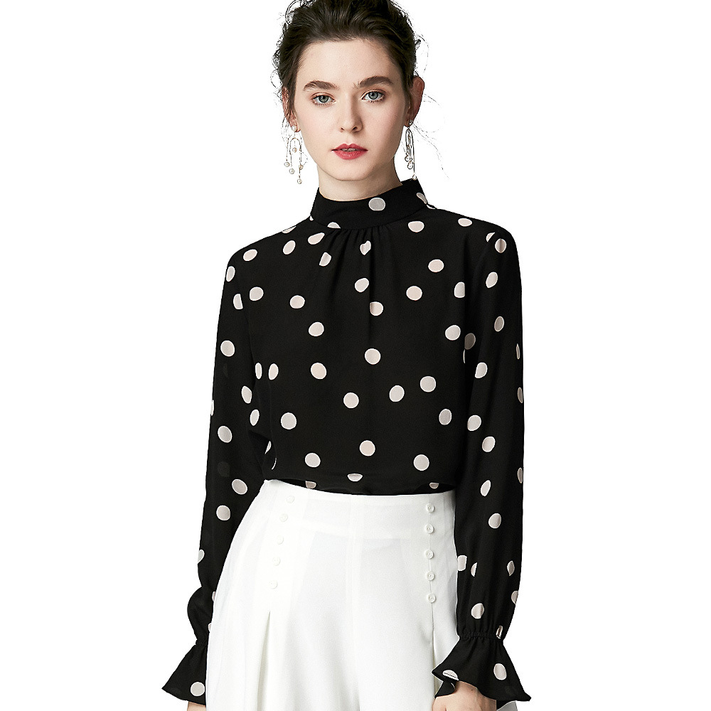 16mm 100 Silk Blouses Elegant Turtleneck Long Sleeve Polka Dot Shirt Autumn Black Office Ladies Tops Luxury Women Clothes Pink in Blouses amp Shirts from Women 39 s Clothing