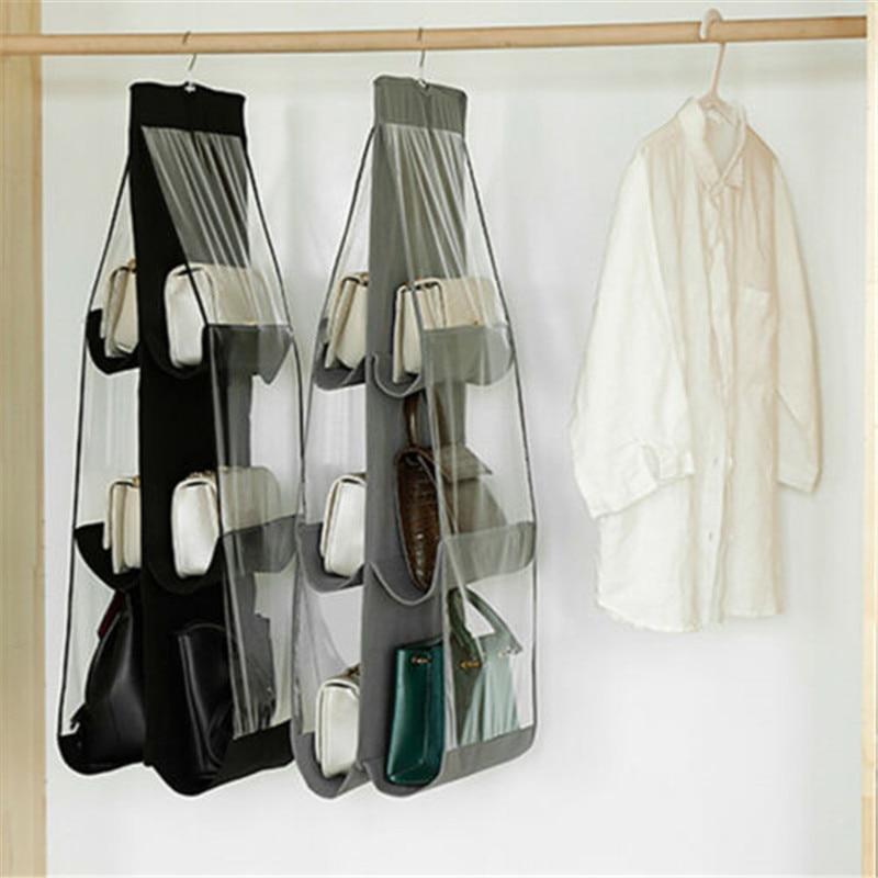 New Style Packing Organizers Solid 6 Pocket Folding Hanging Handbag Storage Holder Organizer Rack Hook Hanger Fashion Hot 2019