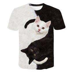 Camiseta de gato preto e branco camisa de t harajuku impressão feminina camiseta de gato engraçado camiseta