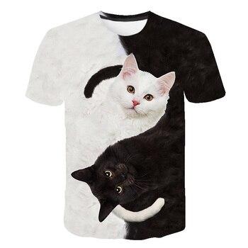Black and white cat t shirt harajuku Print Women tshirt camiseta mujer Funny cat shirt tshirts women Girl Hipster Top Tee цена 2017