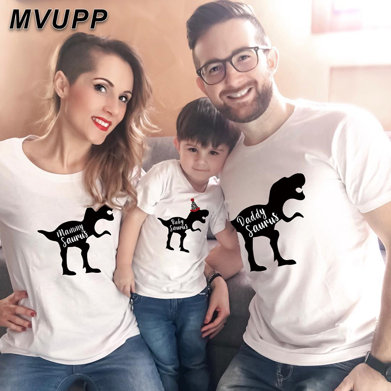 2019 Dinosaur Matching Family Outfits Mother Daughter Clothing Kids Baby Dad Mom Son T Shirt Fashion Streetwear Clothes New Look