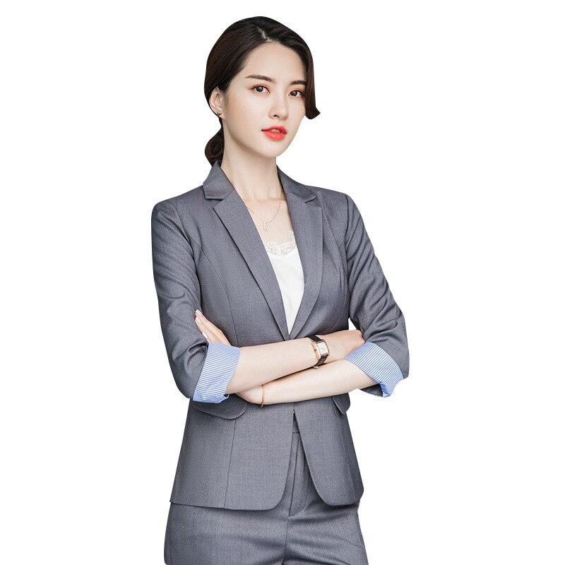 2020 Business Pant Suit Uniform Female Elegant Formal Office Lady Jacket And Long  Black Blazer Set Women OL 2 Two Pieces Suits