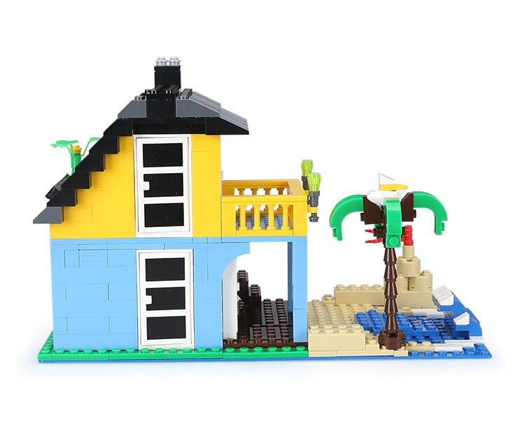 Городская архитектура вилла модель коттеджа Совместимость Legoingly друзья пляж хижина модульный дом деревенские строительные блоки детские игрушки