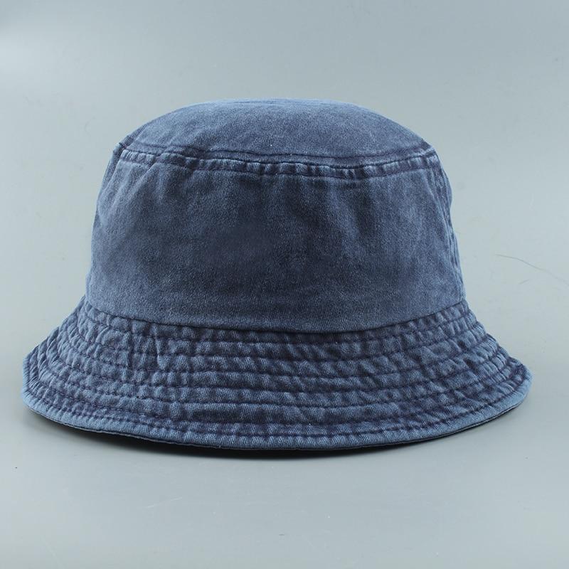 2020 New Foldable Fisherman Hat Washed Denim Bucket Hats Unisex Fashion Bob Caps Hip Hop Gorros Men Women Panama Bucket Cap
