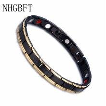 цена на NHGBFT Classic Black Color Magnets Element Bracelet For Mens Black Charm stainless steel Bracelet