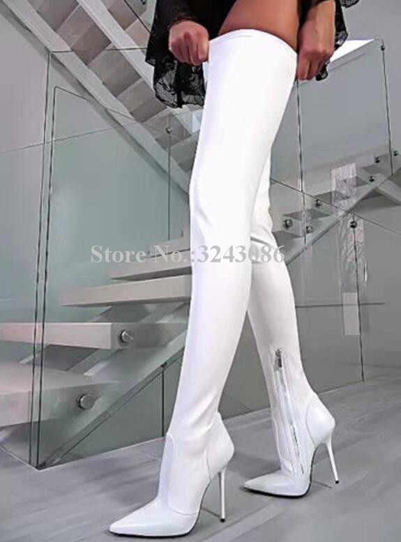 Seksi mor renk Stiletto topuk uzun çizmeler kadın yeni sivri burun deri diz çizmeler üzerinde popüler düğün ayakkabı Dropship