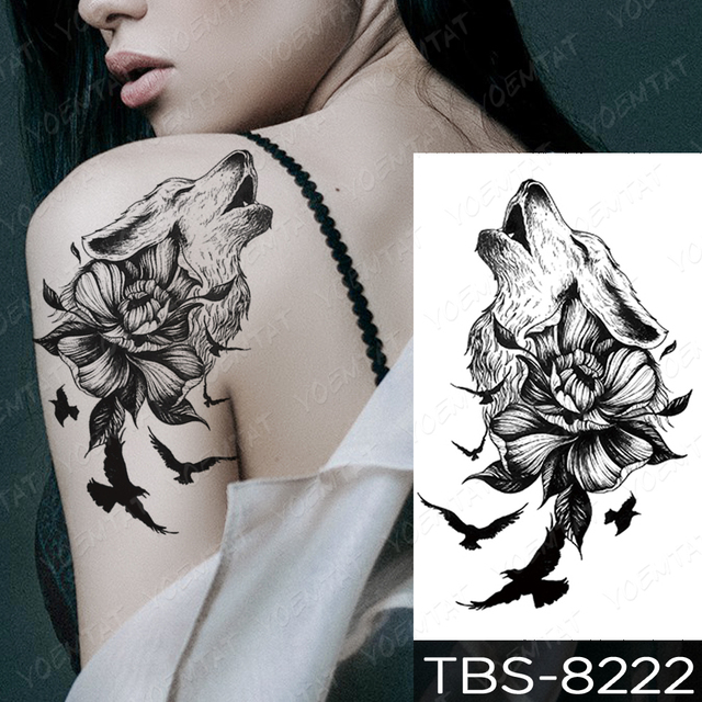 Waterproof Temporary Tattoo Sticker Chest Lace Henna Mandala Flash Tattoos Wolf Diamond Flower Body Art Arm Fake Tatoo Women Men 6
