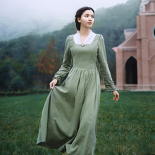 Женское длинное платье с V образным вырезом, светильник зеленое элегантное приталенное льняное платье принцессы, с длинным рукавом, в винтажном стиле, весна осень