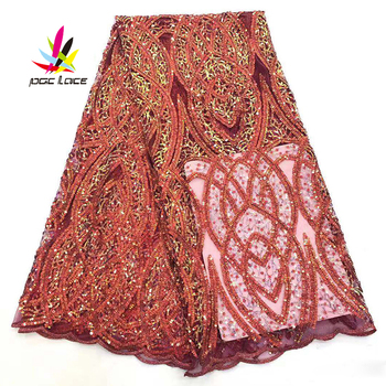 High Quality Lace French Fabric Sequine Tulle Burnt Orange Elegant French African Nigerian Latest Design New Style Best Selling