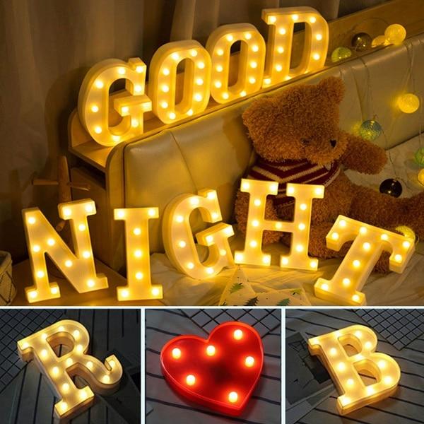 16/21CM sıcak beyaz noel alfabe mektup LED ışık ampuller lamba dekorasyon düğün parti ekran gece lambası noel hediyesi