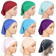 Под шарфом хиджаб шапка труба кость химиотерапия шляпа хлопок головной убор Внутренняя крышка s Женщины мусульманские внутренние хиджабы Кепка тюрбан mujer