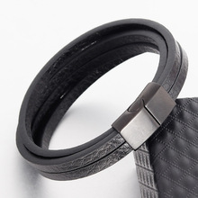 ZG Fashion black leather bracelet mens and womens jewelry simple style brown stainless steel magnetic buckle