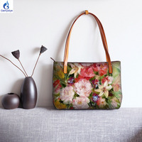 2020 new fashion women Totes ART Oil Hand Painted Flowers women Genuine leather Handbag casual Tote Hanada Customize gifts blosa