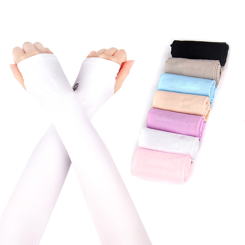 running - 2pcs Arm Sleeves Mangas Ice Fabric Summer Sports UV Sunscreen Protection Running Cycling Driving Sleeve