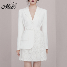 Max Spri 2019 Autumn New V Neck Long Sleeve Fashion OL Suit Stitching Lace Belt Women Party Mini Dress White