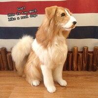 1pc 46cm simulation dog plush toy leather hair handmade creative realistic animal sitting dog doll children plush toy birth