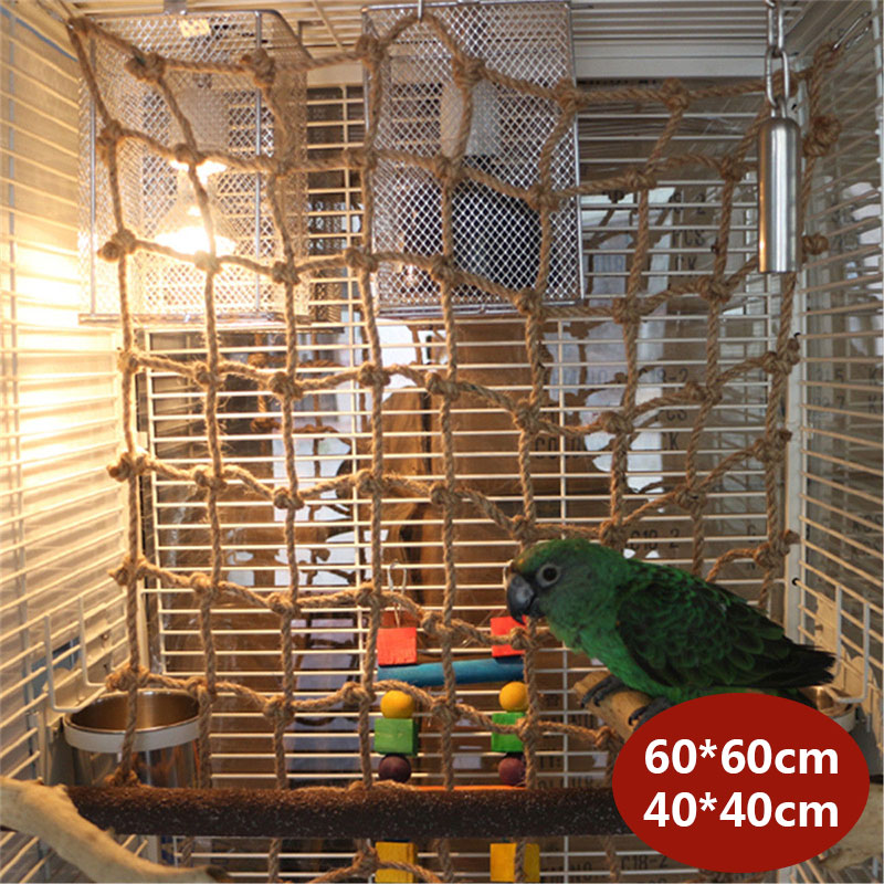 2 Sizes Bird Climbing Net Hemp Rope Parrot Hanging Rope Stand Net Swing Play Rope Ladder Chew Toy With Buckles Play Gym Toys