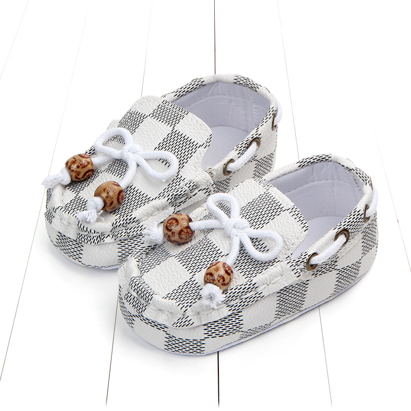 New fashion high quality newborn baby boy shoes moccasins Patch Slip-On plaid casual new born infant toddler baby girl shoes 1