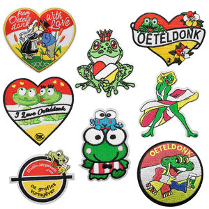 Oeteldonk Embleem Full Embroidered Frog Carnival for Netherland Iron on Patches for Clothing Stripe Embroidered Patch Applique G