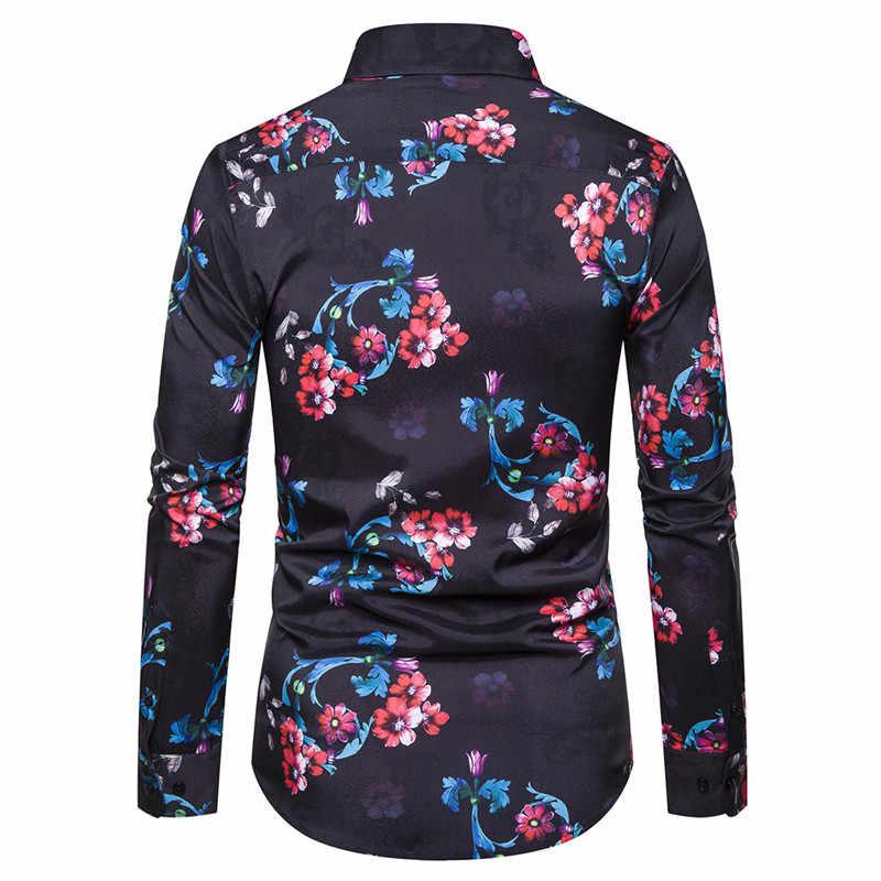 Camisa Floral negra con estampado de flores para hombre